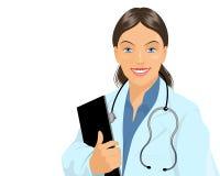 Docteur affable avec le comprimé Images stock