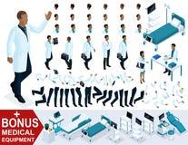 Docteur An African American d'Isometrics ondulant sa main, créent votre caractère 3D du chirurgien, ensembles de pieds de gestes  Illustration Stock