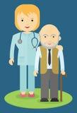 Docteur aidant un homme plus âgé Images libres de droits