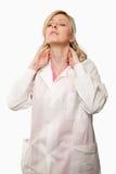 Docteur avec douleur cervicale Photo stock