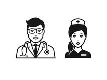 Docteur avec l'infirmière illustration libre de droits