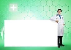 Docteur avec la banni?re images stock