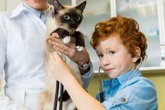 Docteur avec le chat ausculting de garçon d'une chevelure rouge avec le stéthoscope Photographie stock