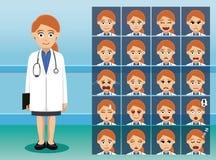 Docteur Cartoon Character Emotion de personnel hospitalier joli fait face illustration libre de droits
