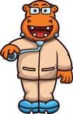 Docteur Cartoon d'hippopotame Photos stock