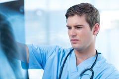 Docteur concentré analysant le rayon X photo stock