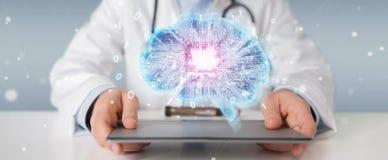 Docteur créant le rendu de l'interface 3D d'intelligence artificielle