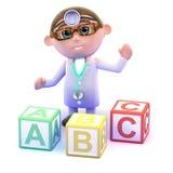 docteur 3d avec des blocs d'alphabet Images libres de droits