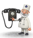 docteur 3d avec le téléphone Images libres de droits