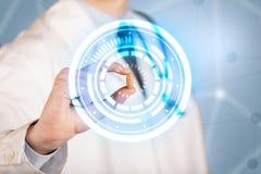 docteur dans le manteau blanc montrant une pilule rougeoyante dans les cercles bleus et blancs photo stock