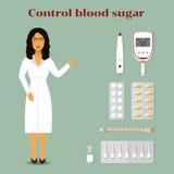 Docteur dans une robe et des médecines - seringues et pilules illustration stock