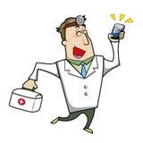 Docteur de bande dessinée avec la trousse de secours et le téléphone portable Images stock