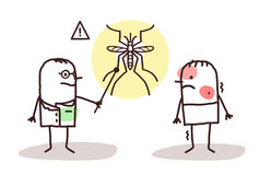 Docteur de bande dessinée avec l'homme et le moustique malades de dengue Photos libres de droits