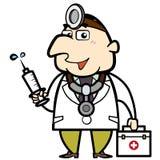 Docteur de bande dessinée avec la trousse de secours et la seringue Image stock