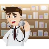 Docteur de bande dessinée dans l'action utilisant le stéthoscope Images stock