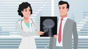 Docteur de clinique/femme de bande dessinée parlant avec le patient banque de vidéos