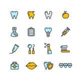 Docteur de dent dentaire Color Icon Set Vecteur Photographie stock libre de droits
