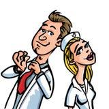 Docteur de dessin animé flirtant avec une infirmière Images stock