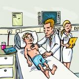 Docteur de dessin animé s'occupant d'un jeune patient Image stock
