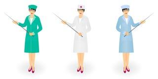 Docteur de femme dans l'indicateur médical de participation de manteau avec le bâton Jeune infirmière avec un indicateur illustration de vecteur