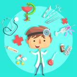 Docteur de garçon, future illustration professionnelle rêveuse de profession d'enfants avec connexe aux objets de profession illustration libre de droits