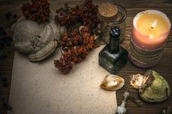 Docteur de sorcière shaman sorcellerie Table magique Médecine parallèle image libre de droits
