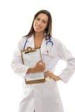 Docteur de sourire attirant avec le document record de santé Photo stock