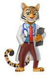 Docteur de tigre dans le manteau blanc et un lien rouge Illustration Stock
