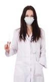 Docteur debout de femme avec le stéthoscope image stock