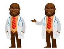 Docteur drôle d'Afro-américain de bande dessinée illustration stock