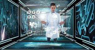 Docteur employant l'interface dans le couloir 3D Photos stock