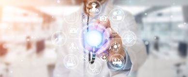 Docteur employant le rendu futuriste médical numérique de l'interface 3D Photographie stock libre de droits
