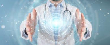 Docteur employant le rendu futuriste médical numérique de l'interface 3D Image stock