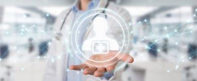 Docteur employant le rendu futuriste médical numérique de l'interface 3D Images stock