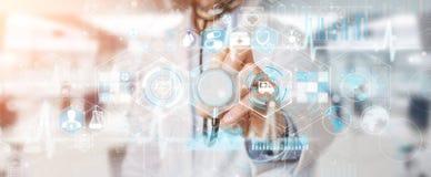 Docteur employant le rendu futuriste médical numérique de l'interface 3D Photo libre de droits