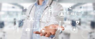 Docteur employant le rendu futuriste médical numérique de l'interface 3D illustration de vecteur