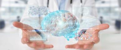 Docteur employant le rendu numérique de l'hologramme 3D de balayage de cerveau illustration stock