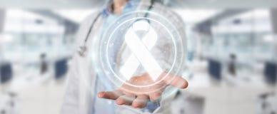 Docteur employant le rendu numérique de l'interface 3D de cancer de ruban illustration de vecteur
