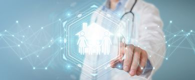 Docteur employant le rendu numérique de l'interface 3D de soin de famille Images stock