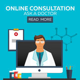 Docteur en ligne Consultation en ligne Demandez au docteur Illustration médicale Images libres de droits