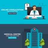 Docteur en ligne Consultation en ligne Demandez au docteur Illustration médicale Centre médical Rendez visite au docteur Hôpital  Image libre de droits
