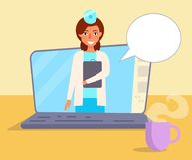 Docteur en ligne Vector cartoon illustration de vecteur