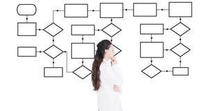 Docteur et diagramme femelles réfléchis d'organigramme banque de vidéos