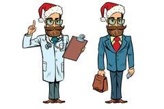 Docteur et homme d'affaires de Noël de hippie illustration stock