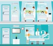 Docteur et patient dans la chambre d'hôpital avec des lits illustration libre de droits