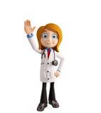 Docteur féminin avec dire salut la pose image libre de droits