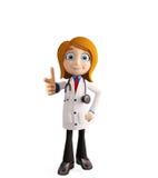 Docteur féminin avec diriger la pose illustration libre de droits