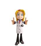 Docteur féminin avec diriger la pose illustration de vecteur