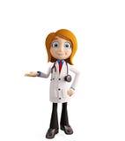 Docteur féminin avec la pose de présentation illustration libre de droits