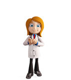 Docteur féminin avec la pose de promesse illustration de vecteur